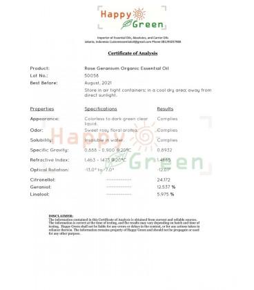 Happy Green ORGANIC Rose Geranium Oil - Minyak Bunga Pelargonium
