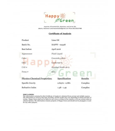 Happy Green Lime Distilled Essential Oil -  Minyak Non Photo toxic