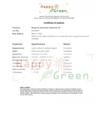 Happy Green Rosalina Essential Oil - Swamp Paperbark Tree Oil