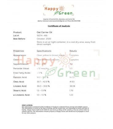 Happy Green Oat Carrier oIl -Minyak Gandum Murni Natural