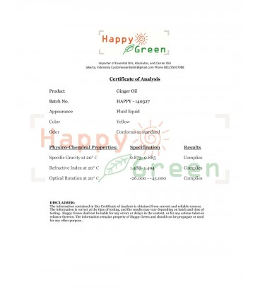 Happy Green ORGANIC Ginger Essential Oil - Minyak Jahe Organik