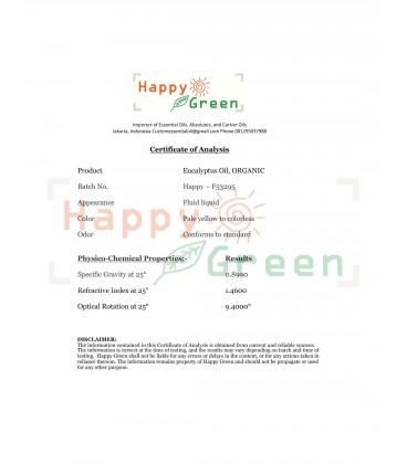 Happy Green ORGANIC Eucalyptus Globulus Essential Oil -Murni Tanpa Campuran