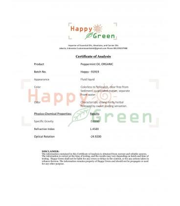 Happy Green ORGANIC Peppermint Essential Oil - Minyak Mentha Organik